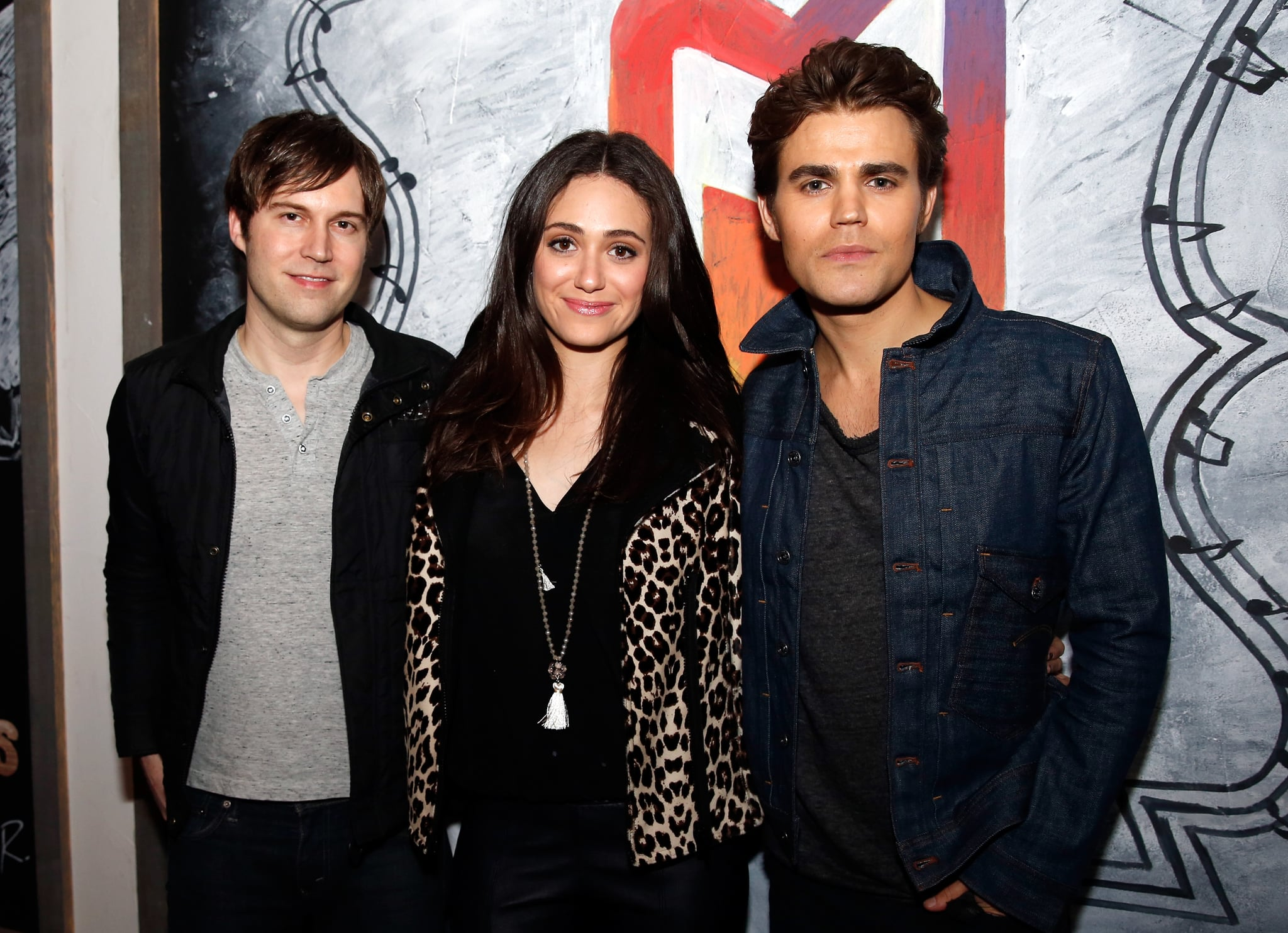 Paul Wesley and Emmy Rossum posed with their film Before I Disappear's writer, Shawn Christensen, on Monday.
