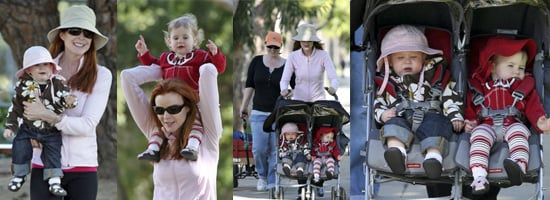 Marcia Cross in the Park with Her Twins Eden and Savannah