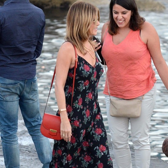 Jennifer Aniston Floral Maxi Dress in Italy July 2016