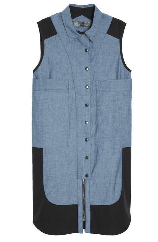 This Proenza Schouler two-pocket shirtdress ($695) is one of the edgiest we've seen — we dig the contrast between the blue and black.