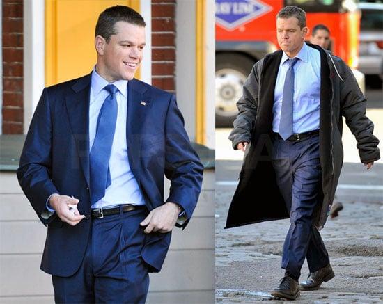 Photos of Matt Damon On Set For the Adjustment Bureau 2009-10-20 15:30:23