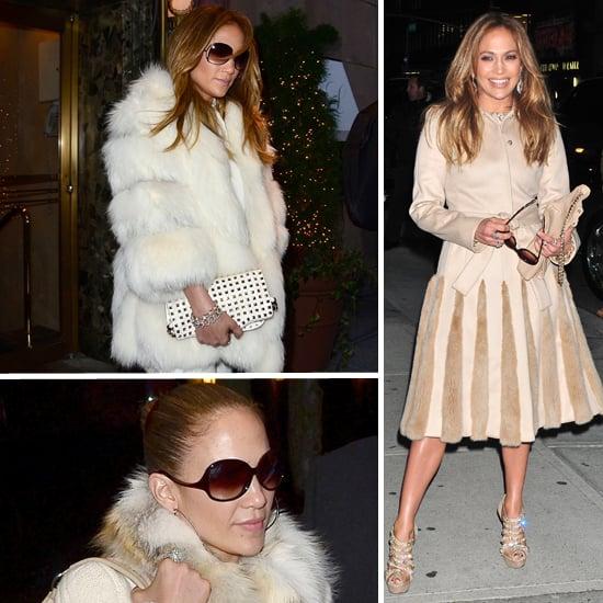 Jennifer Lopez Wears White Fur in New York