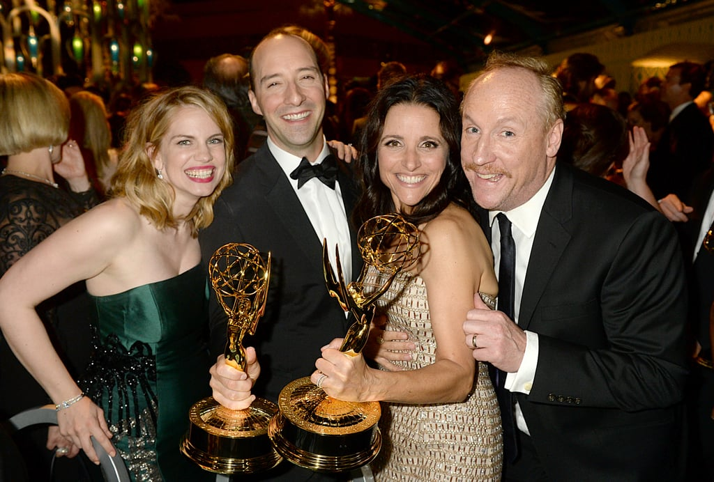 Anna Chlumsky, Tony Hale, Julia Louis-Dreyfus, and Matt Walsh posed for photos at the 2013 HBO Emmys afterparty.