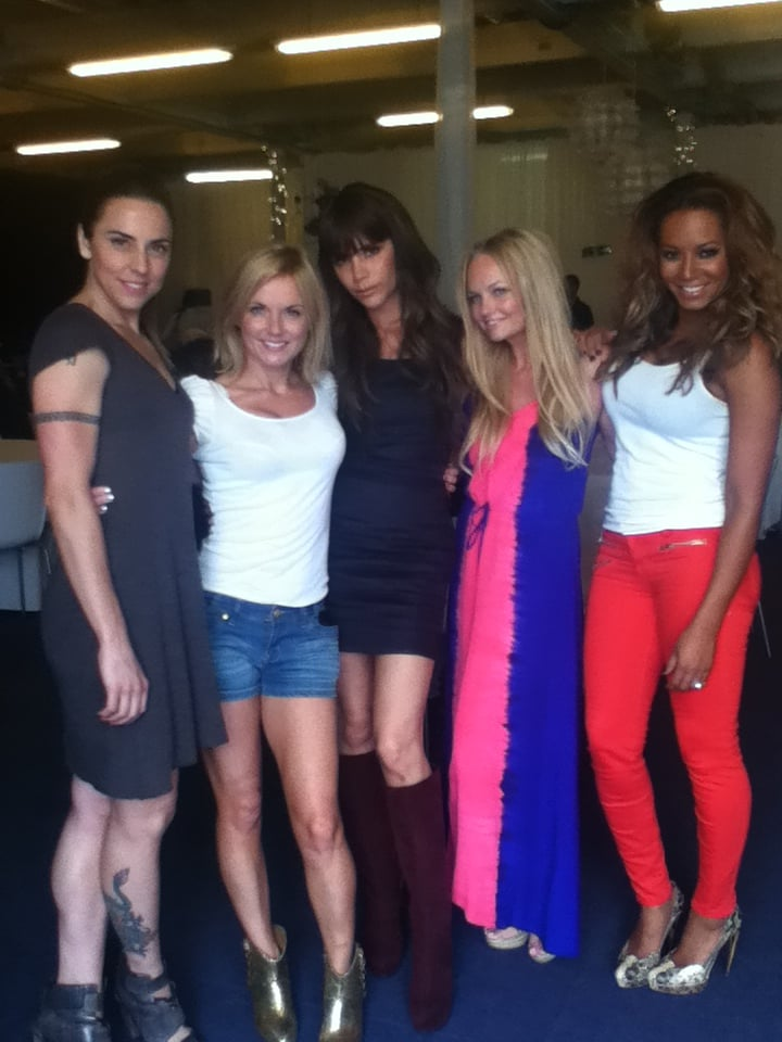 The Spice Girls posed for photos together before getting prepped for their London Olympics closing ceremony performance. Source: Twitter user OfficialMelB