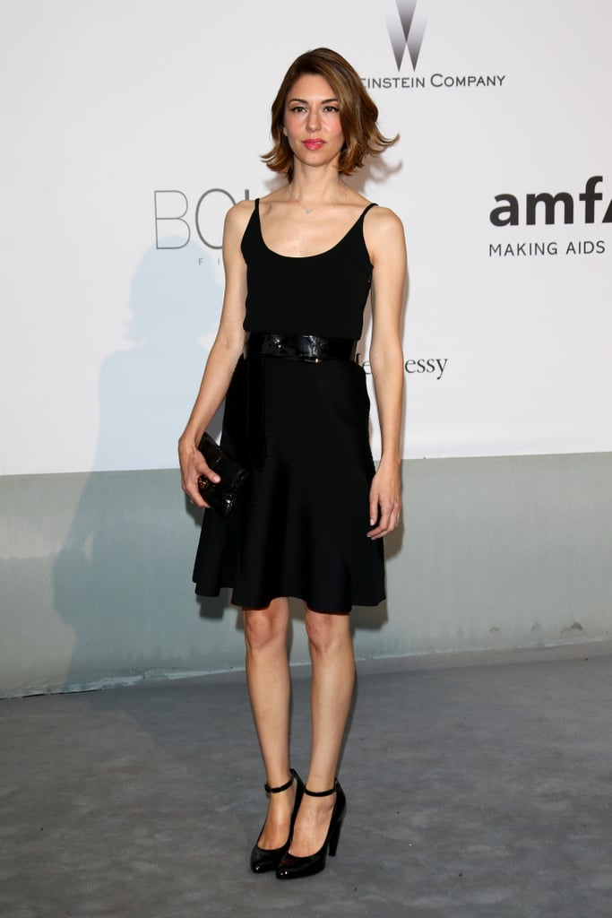 Sofia Coppola wore a black cocktail dress.