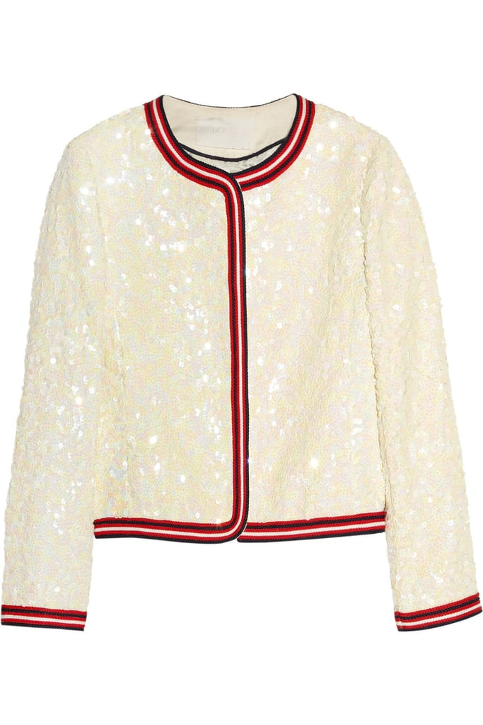 One easy way to dress up a cocktail sheath or just a pair of boyfriend jeans is with J.Crew's Sequined Linen Bomber Jacket ($400).
