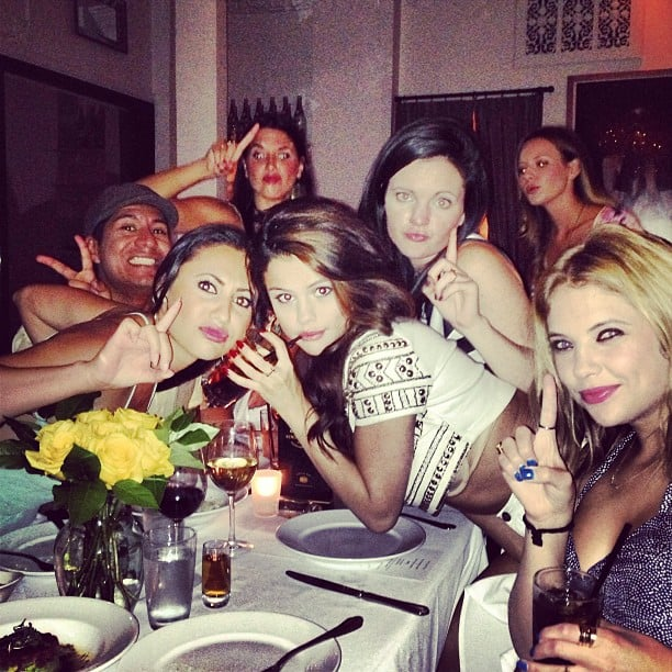 Selena Gomez posed at a dinner table with her friends, including Ashley Benson, for her 21st birthday party. Source: Instagram user itsashbenzo