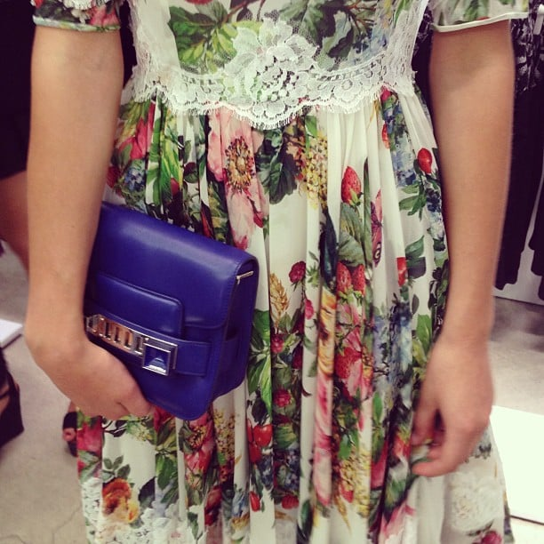 A sneak peek of our model heading out to the Style Lab shoot (nice Proenza Schouler purse, huh?).