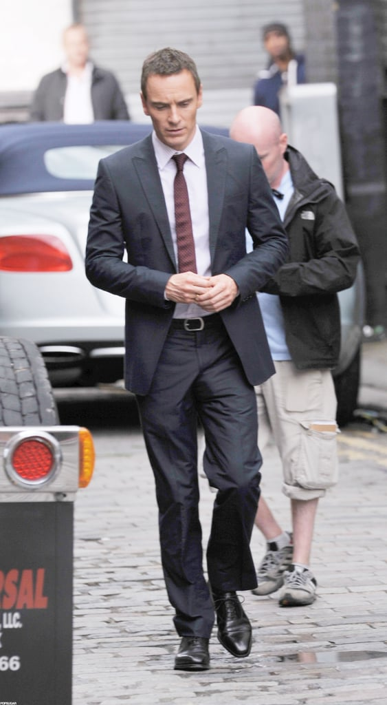 Michael Fassbender looked hot on the London set of The Counselor.