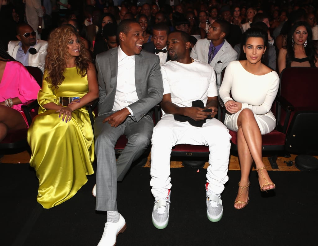 For the 2012 BET Awards, Beyoncé chose a bright Stéphane Rolland gown and Jay Z sported a gray suit — and shared the front row with Kanye West and Kim Kardashian.
