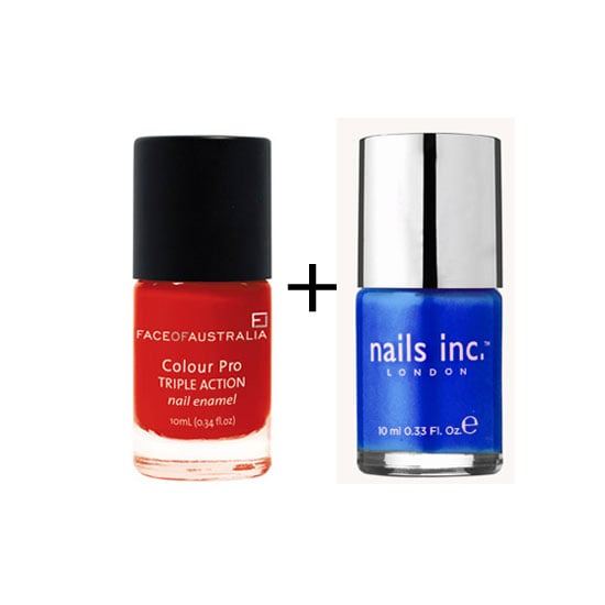 Red and Blue Nail Polish for Australia Day