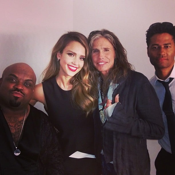 Jessica Alba hung backstage with Cee-Lo Green, Steven Tyler, and Eric Benet during the Social Star Awards in Singapore. Source: Instagram user jessicaalba
