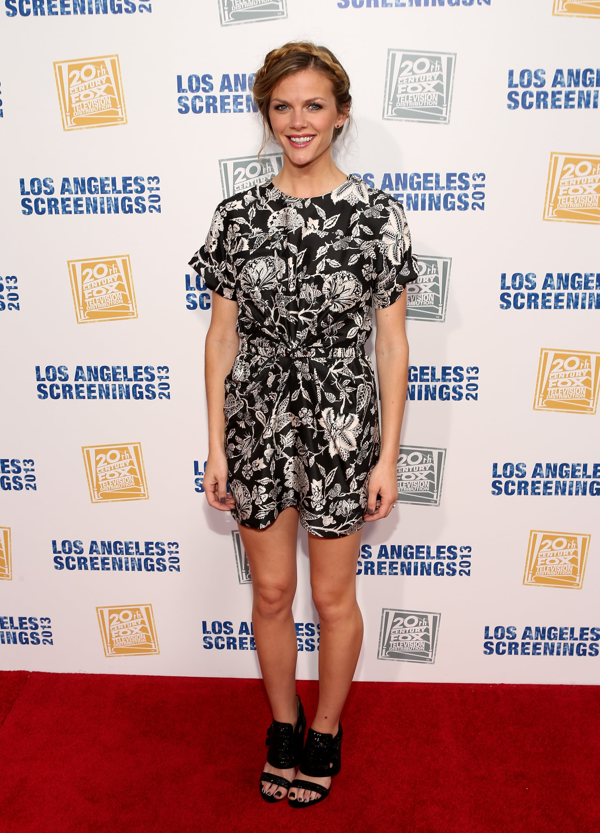 Brooklyn Decker got in on the black and white trend via a printed minidress, then added further edge via chunky black sandals.
