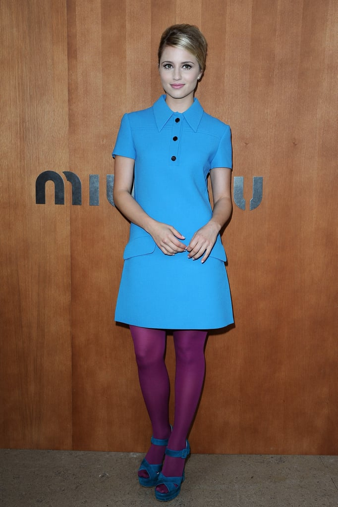 Dianna Agron wore bold hues to attend the Miu Miu show during Paris Fashion Week.