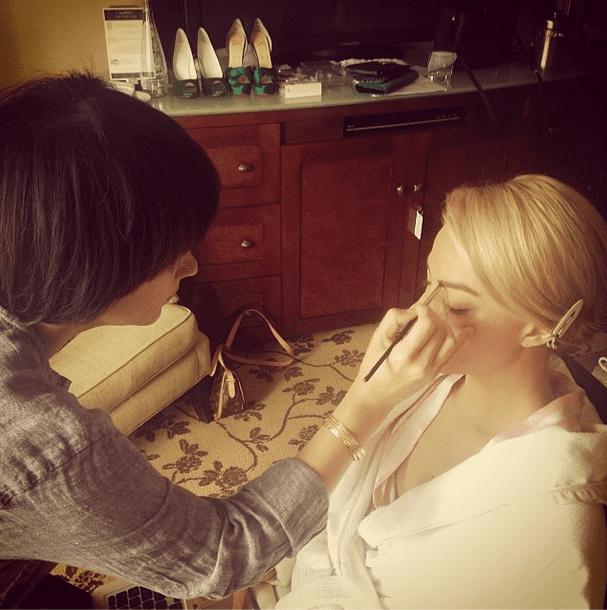 Margot Robbie stayed cozy in her robe while makeup artist Jenn Streicher got her Golden Globes-ready. Source: Instagram user jennstreicher
