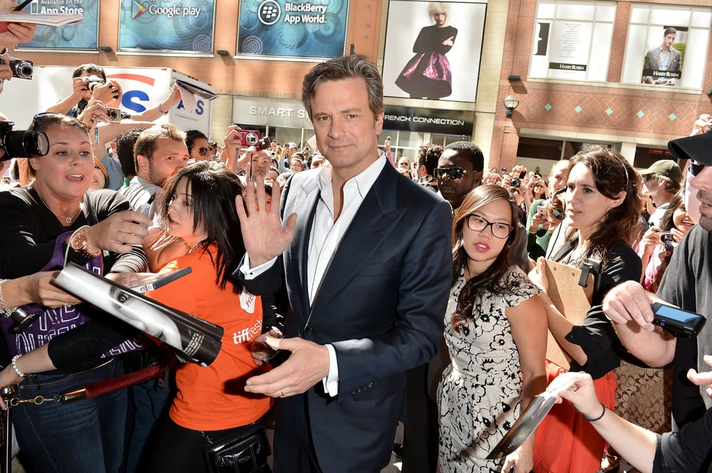 Colin Firth waved to the camera.