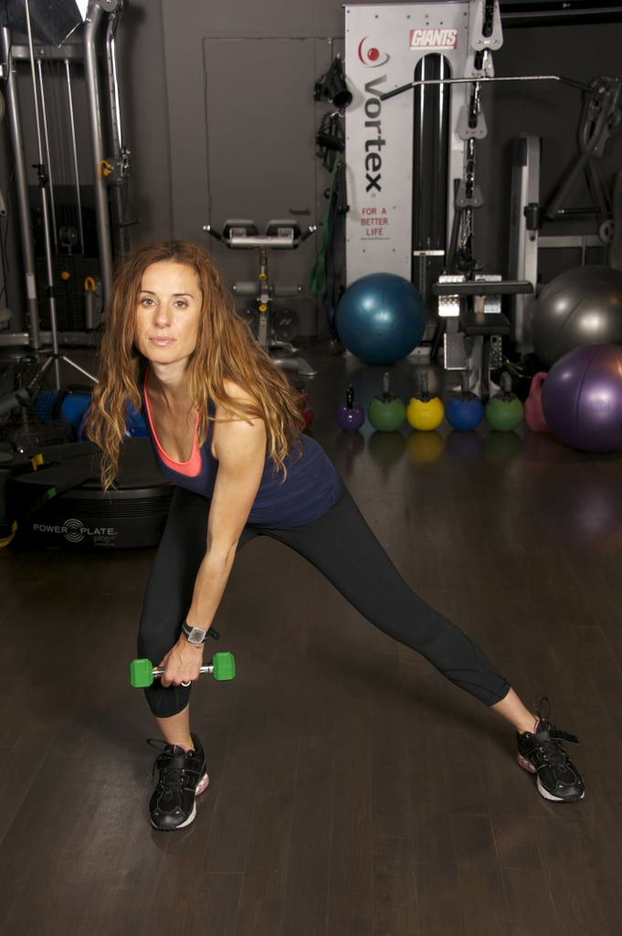 Step out laterally with your right leg, and bend across your body with your right arm past your knee in one motion.