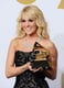 Carrie Underwood posed with her Grammy backstage in 2013.