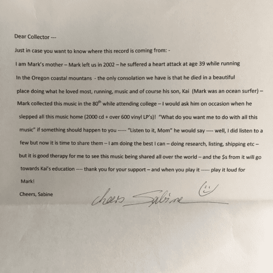 Man Finds Sweet Note in Record Vinyl Sleeve