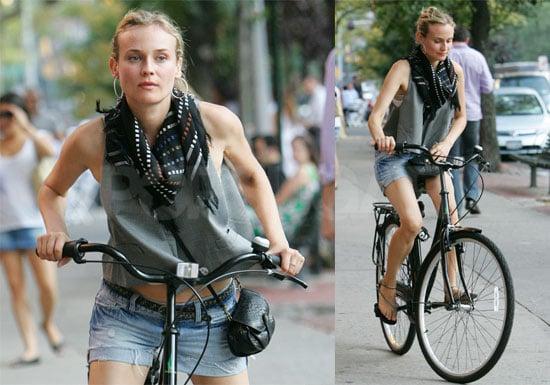 Photos of Diane Kruger Riding Her Bike Around NYC