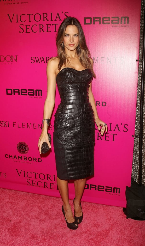 Alessandra Ambrosio in a strapless black dress at the Victoria's Secret Fashion Show afterparty.