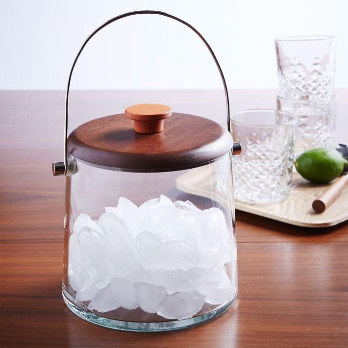 Wood and Glass Ice Bucket