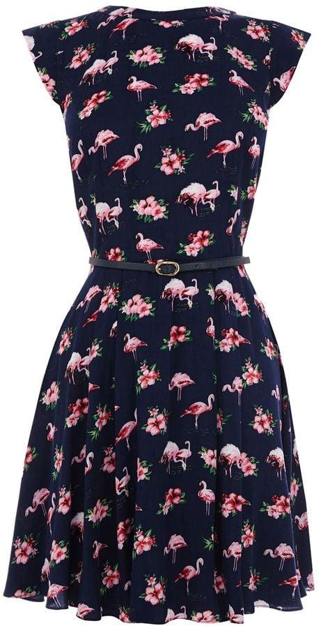 Oasis Flamingo-Print Dress