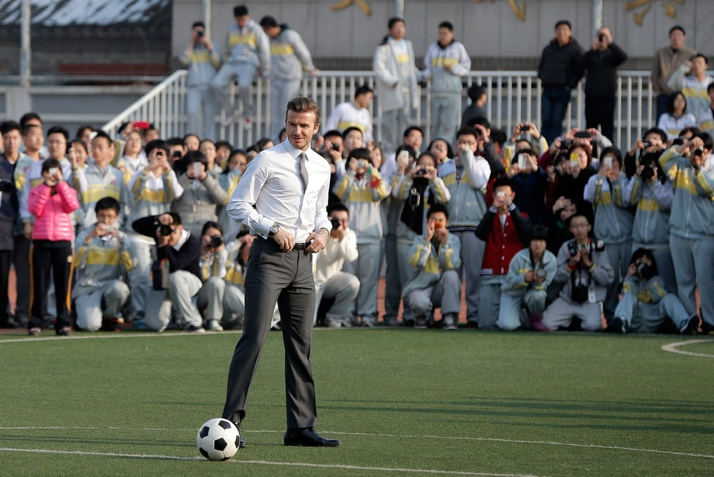 David Beckham played soccer with youth players.