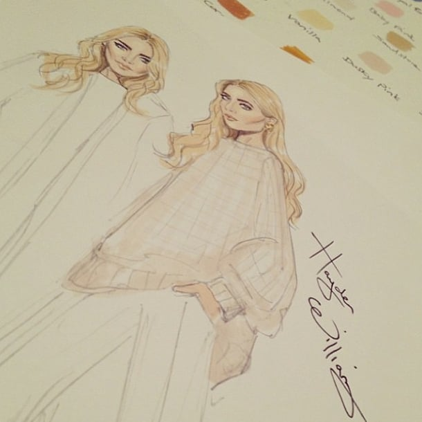 Mary-Kate and Ashley Olsen's Net-a-Porter shoot inspired not only us, but also the soft sketches of a British illustrator. Source: Instagram user netaporter
