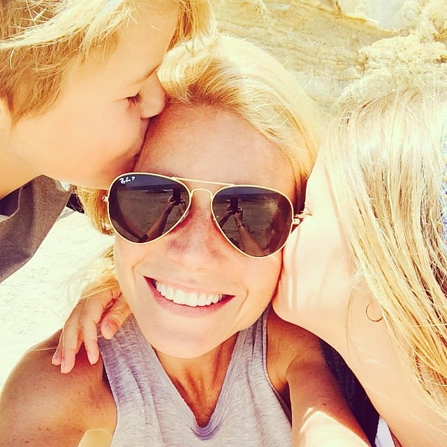 """Gwyneth Paltrow said she was """"feelin' the love"""" during her beach day with Apple and Moses.  Source: Instagram user gwynethpaltrow"""