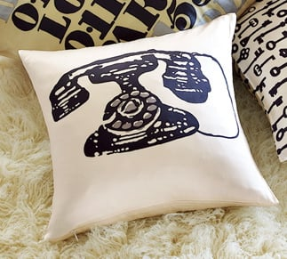 Vintage Telephone Pillow from West Elm