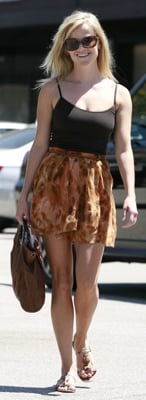 Reese Witherspoon Wears Black Tank and Skirt in LA
