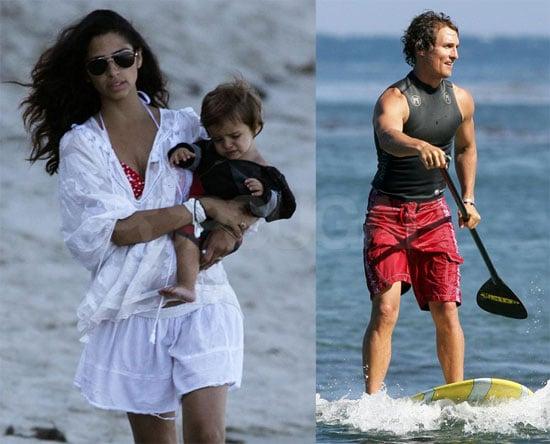 Photos of Matthew McConaughey Paddle Surfing While Bikini-Clad Pregnant Camila Alves and Levi Watch in Malibu