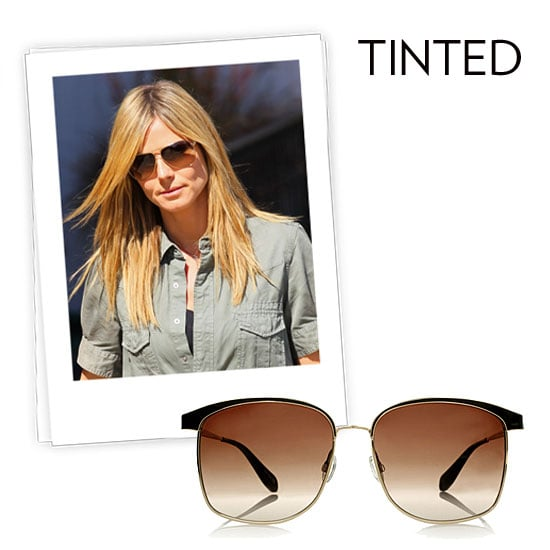 Why we love them: A tint on our lenses means double the personality. While Heidi Klum's tan pair have a kind of '70s feel, this season's rosier tints lend a more fashion-forward vibe. How to wear them: The key here is to find a tint that complements your skin tone. The other trick is to find a style that has a definite color — you don't want it to look like you just happen to be wearing transition lenses. Oliver Peoples Myriel Square Frame Metal Sunglasses ($390)