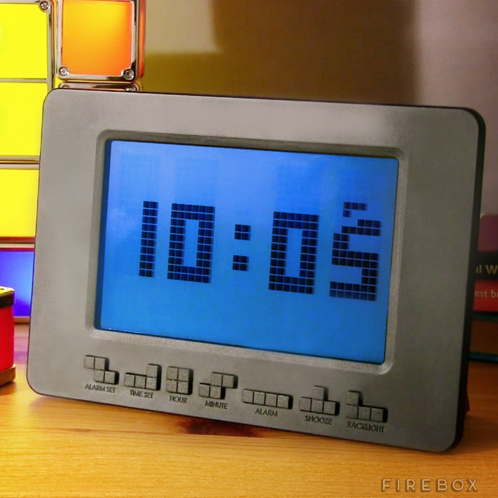 This Tetris alarm clock, because there's no better way to wake up.  Source: Firebox