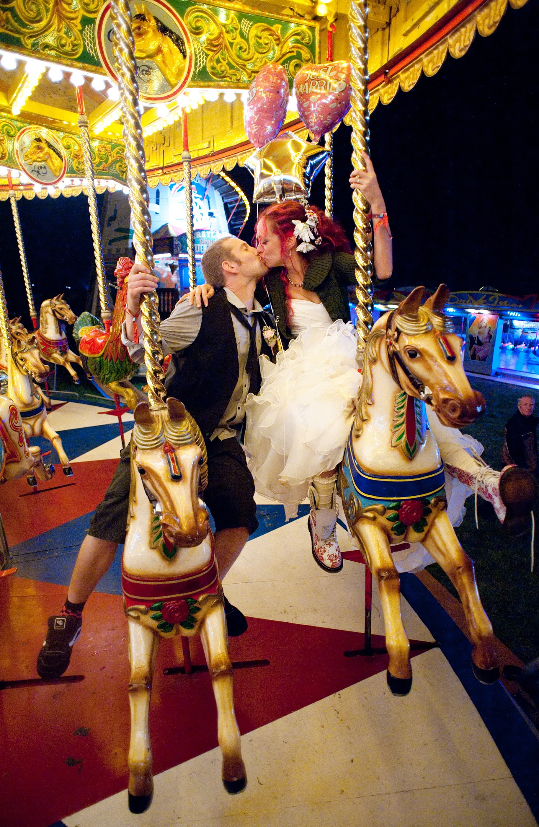 Newlyweds kissed at the Big Chill festival near Ledbury in Herefordshire.