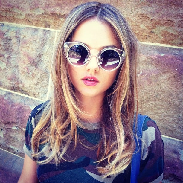 Gorgeous actress Isabelle Cornish tried out some cool clear sunnies and camo. Like? We love. Source: Instagram user isabellecornish