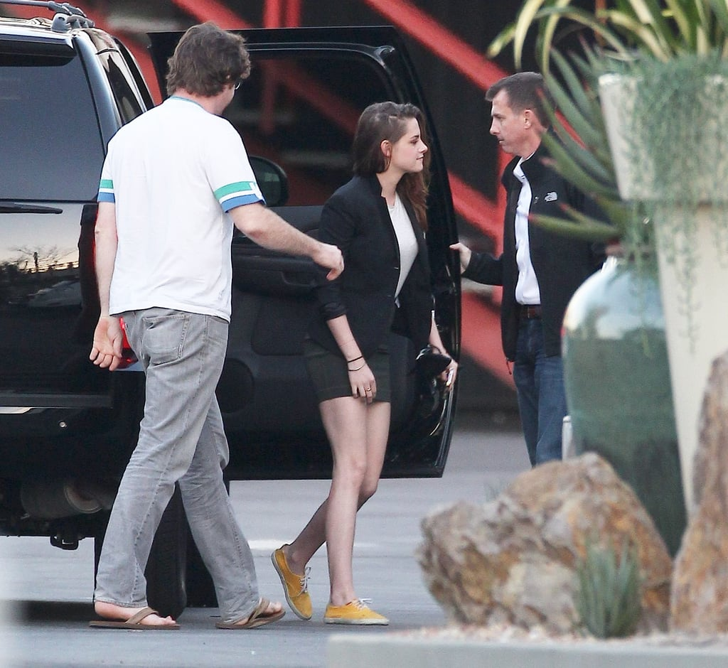 Kristen Stewart arrived for a talk show appearance.