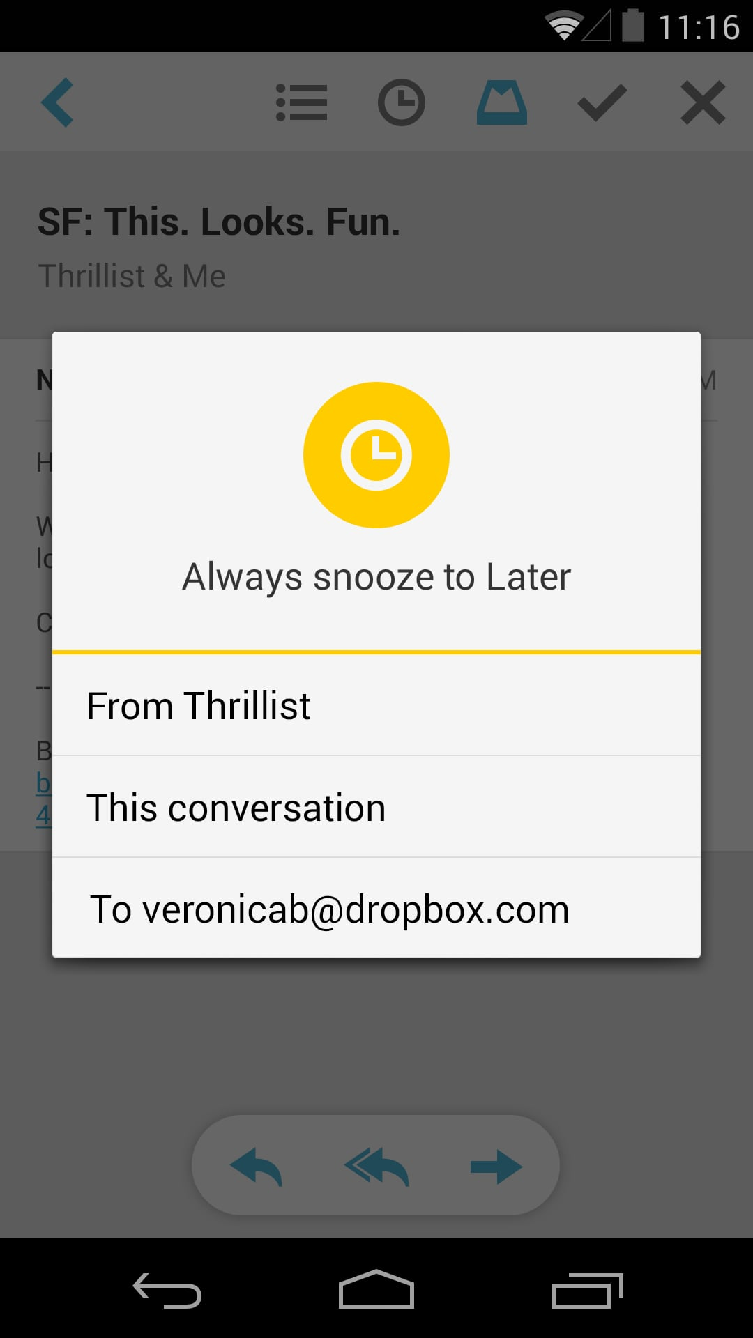 Mailbox for Android — Snooze