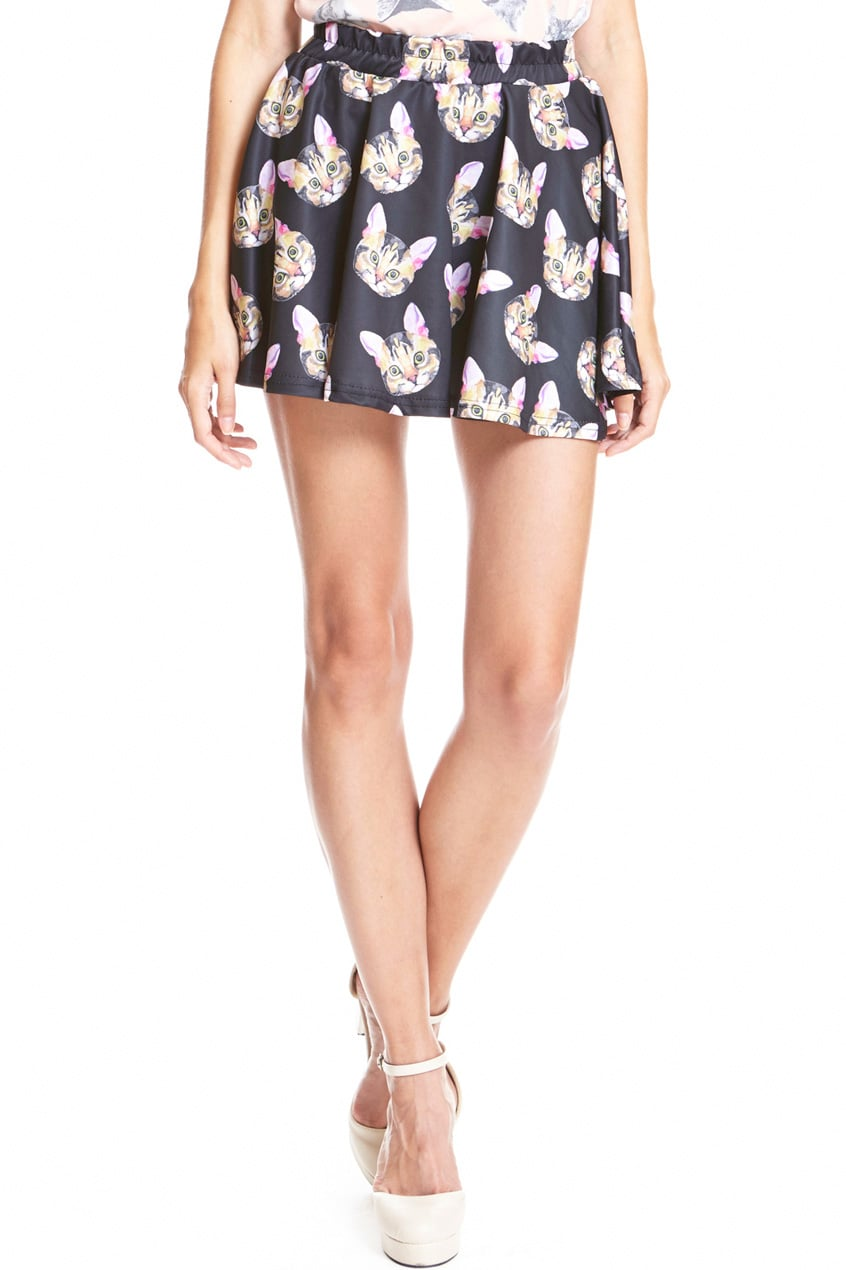 Question: how many cat faces is too many for  a skirt ($27)? Answer: there can never be too many.