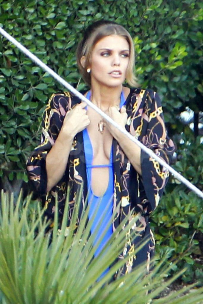 AnnaLynne McCord covered up her bikini on the set of 90210