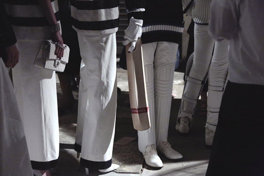 A closer peek at the cricket gear to top all cricket gear. Source: Chanel