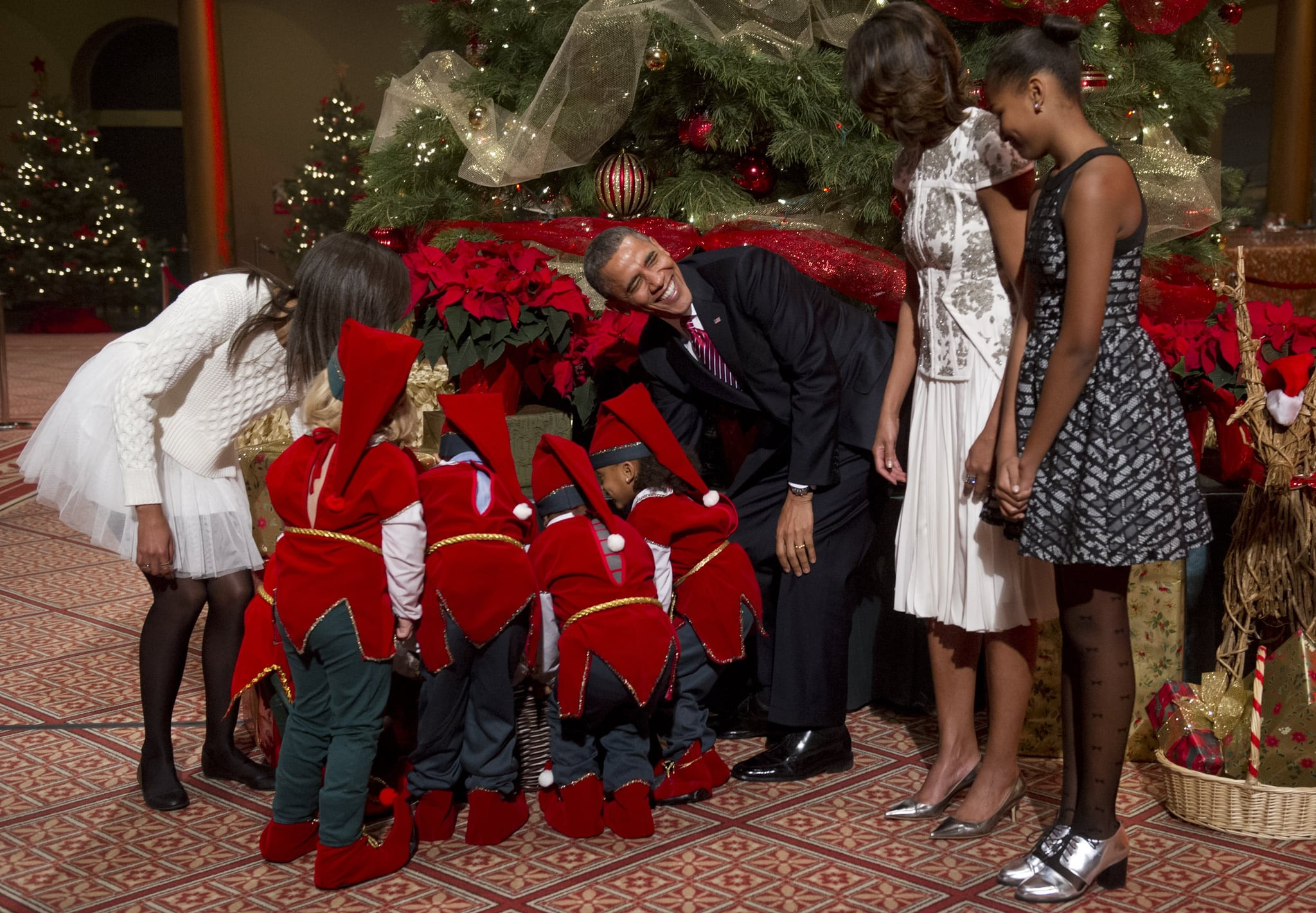 President Obama handed out treats to the little elves.