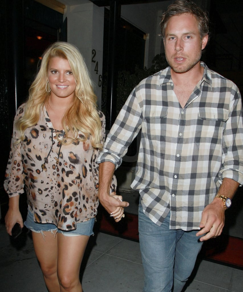 Jessica Simpson and fiancé Eric Johnson leave Madeo in LA.