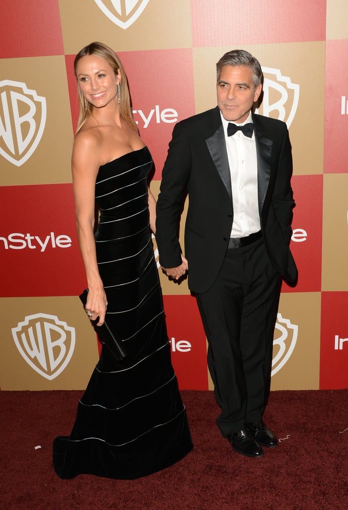 George Clooney and Stacy Keibler arrived hand in hand.