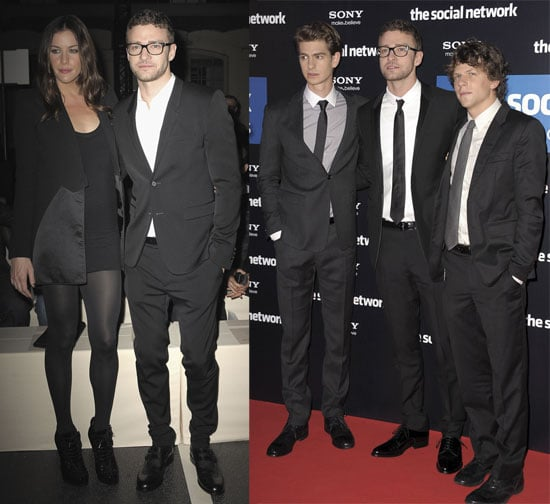 Pictures of Justin Timberlake, Jesse Eisenberg, and Andrew Garfield Promoting The Social Network in Paris 2010-10-04 10:30:00