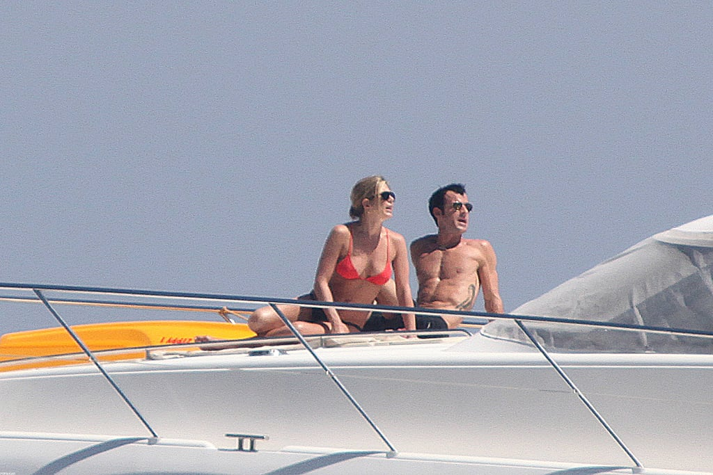 In June, Jennifer Aniston had bikini time on a boat during her Summer vacation in Capri with Justin Theroux.