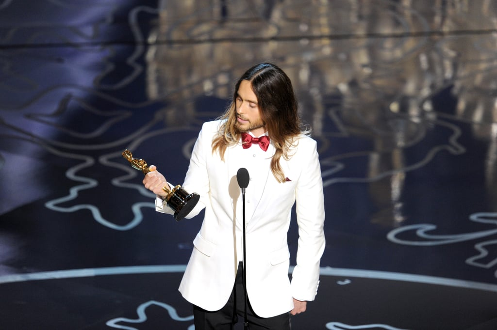 Jared Leto looked at his Oscar after his big win.