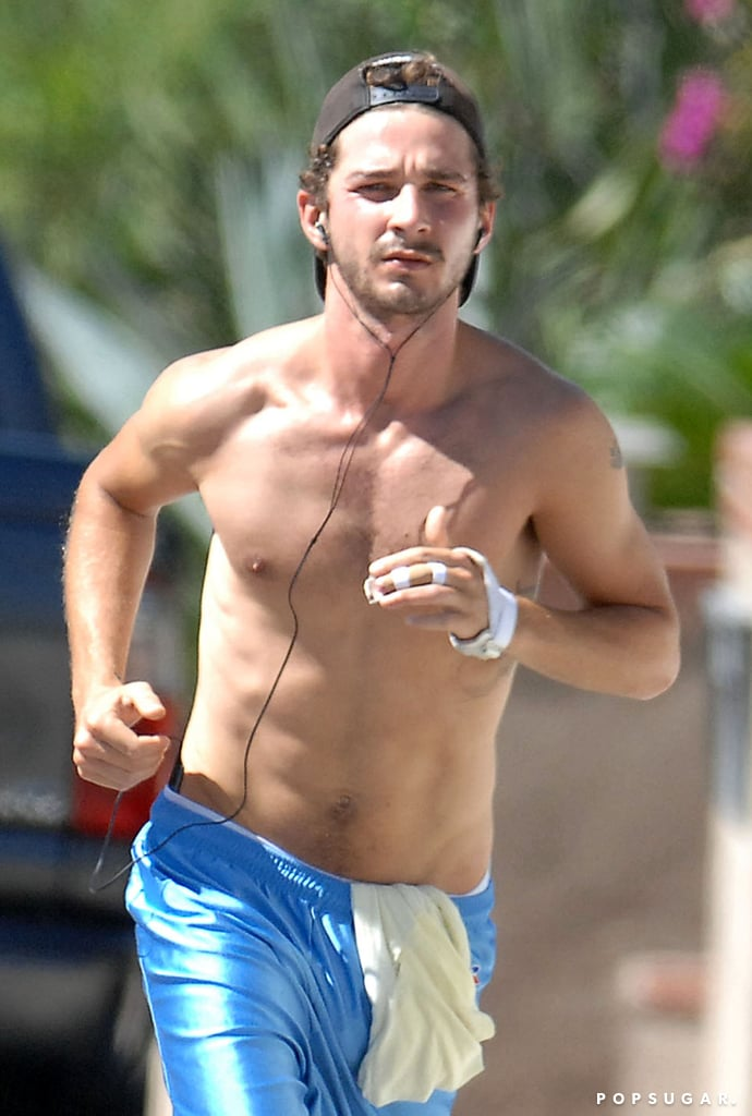 Cut to Shia's adult years: he's all grown-up . . . and shredded.