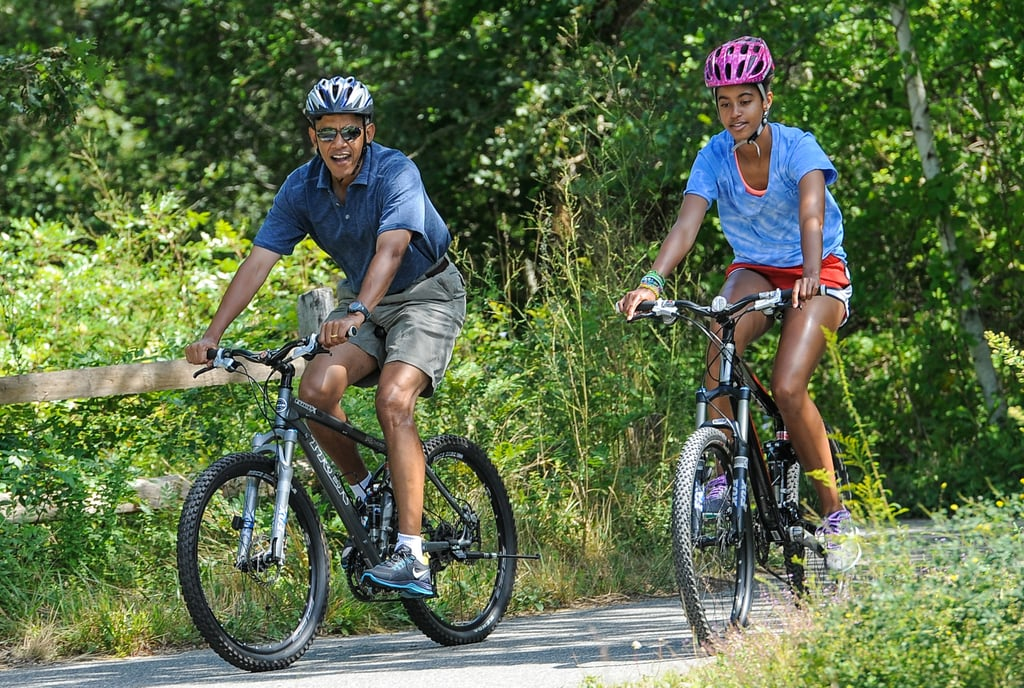 President Obama and his daughter Malia biked side by side during their trip to Martha's Vineyard.